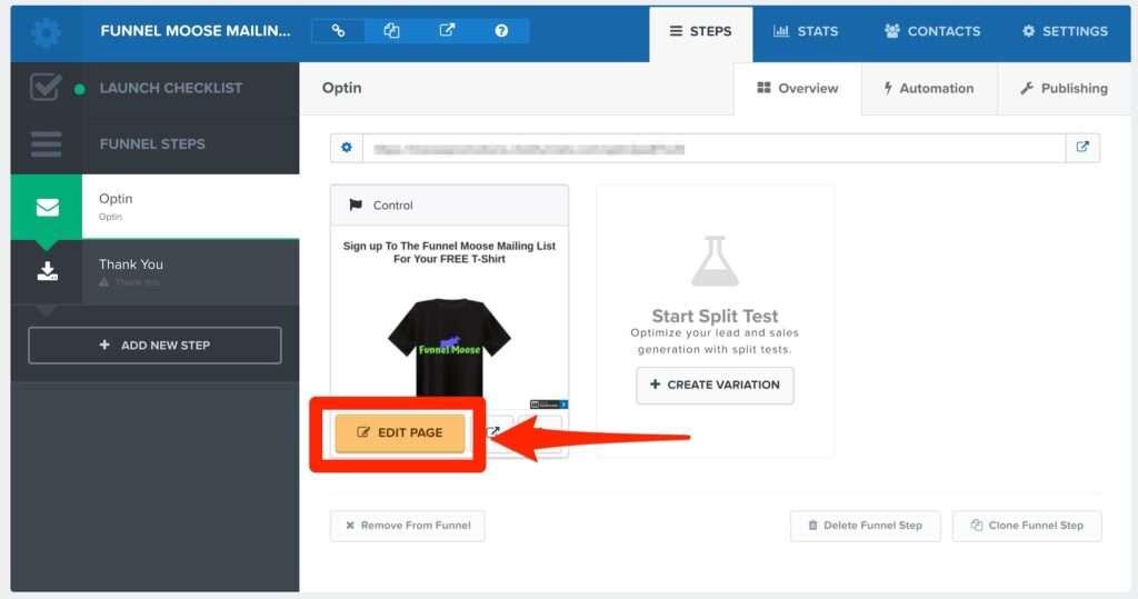 ClickFunnels Funnel Editing Menu Edit Page Button