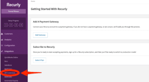 Recurly account dashboard API Credentials option