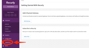 Recurly account dashboard integrations option