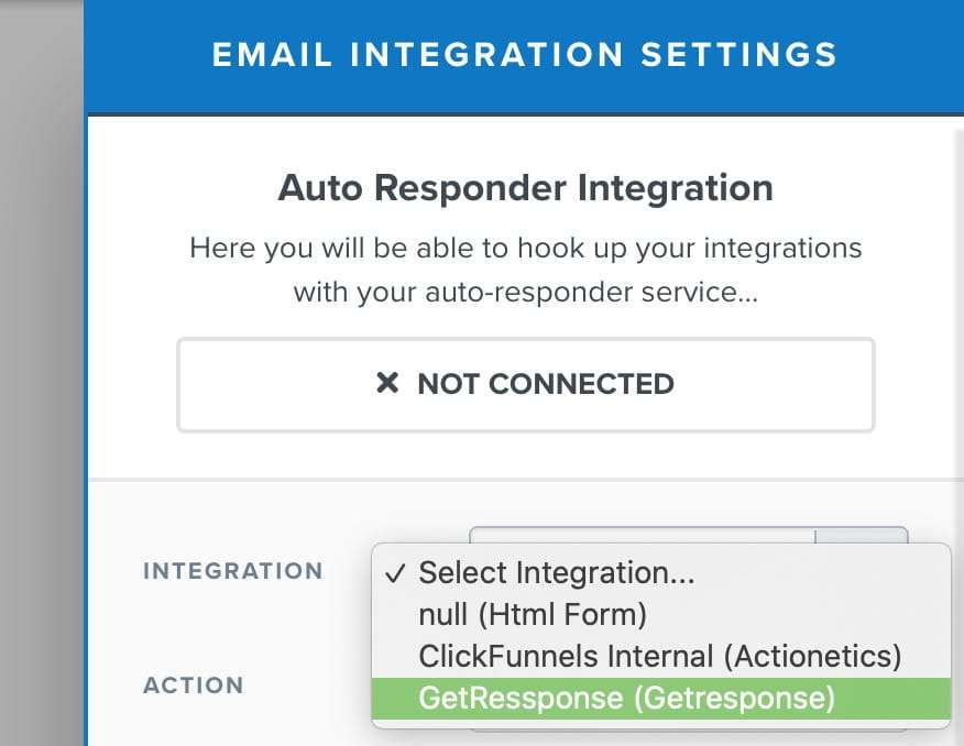 Funnel Autoresponder Integration Settings