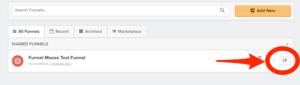 List of funnels in ClickFunnels