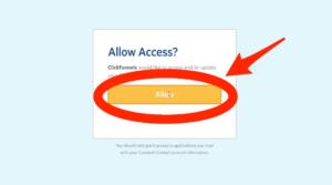 Constant Contact Allow Access Button