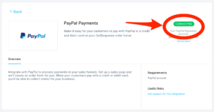 GetResponse PayPal Connected Confirmation