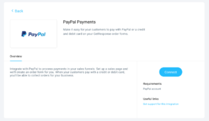 GetResponse Dashboard PayPal Payments