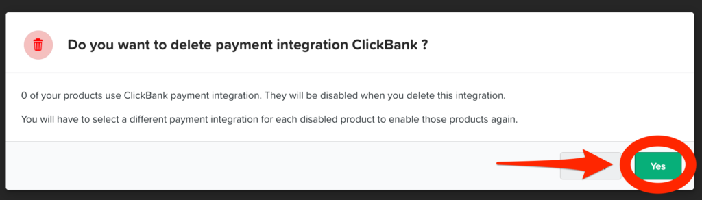 ClickFunnels asking to confirm deleting payment gateway