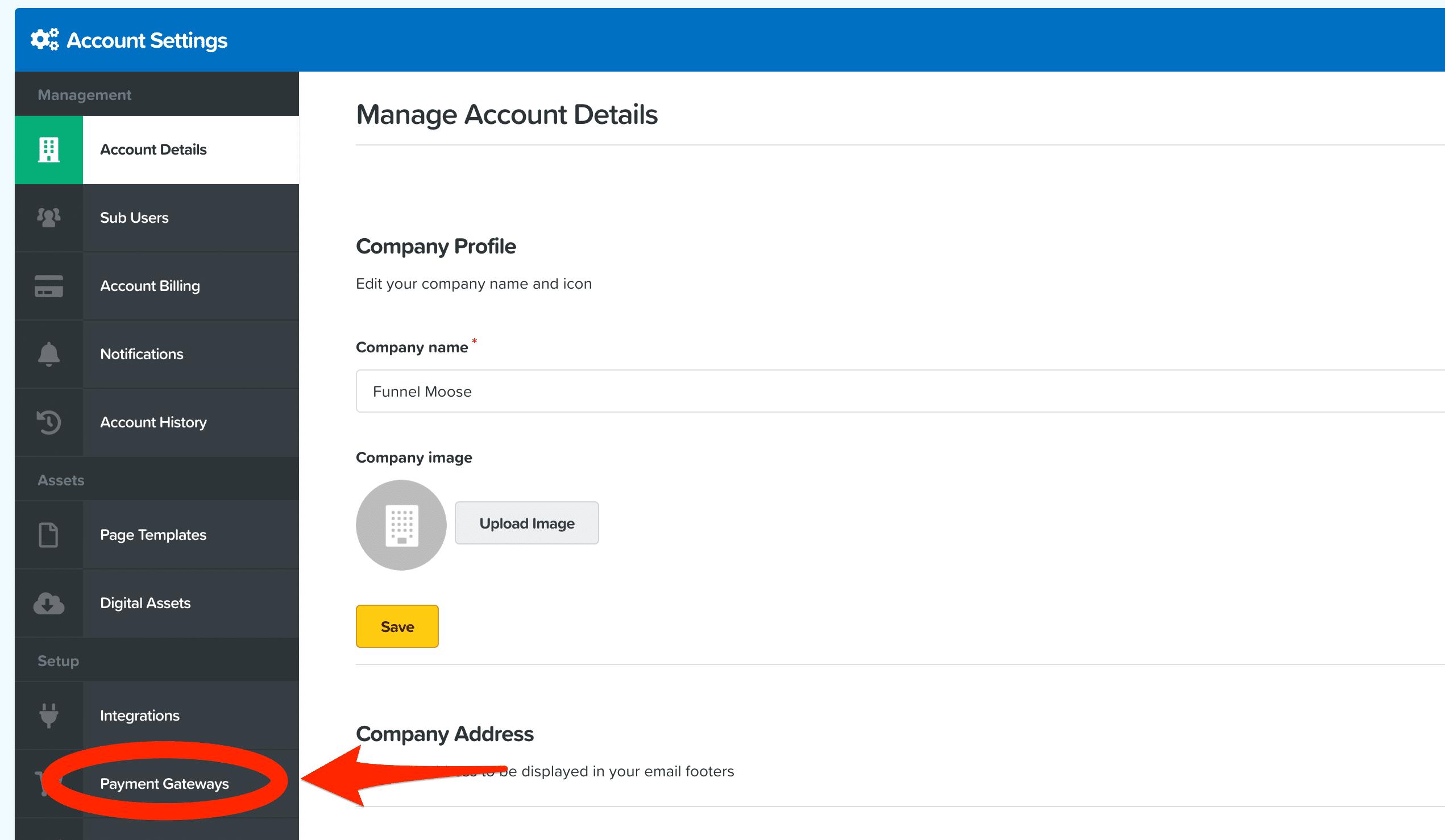 ClickFunnels Dashboard Payment Gateways