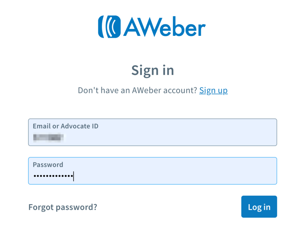 AWeber Affiliate Sign in Page
