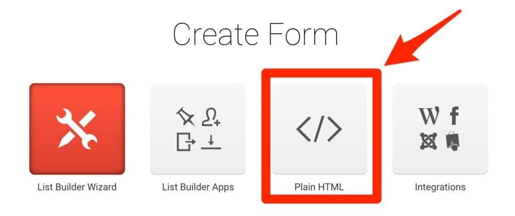 GetResponse Create Form Options