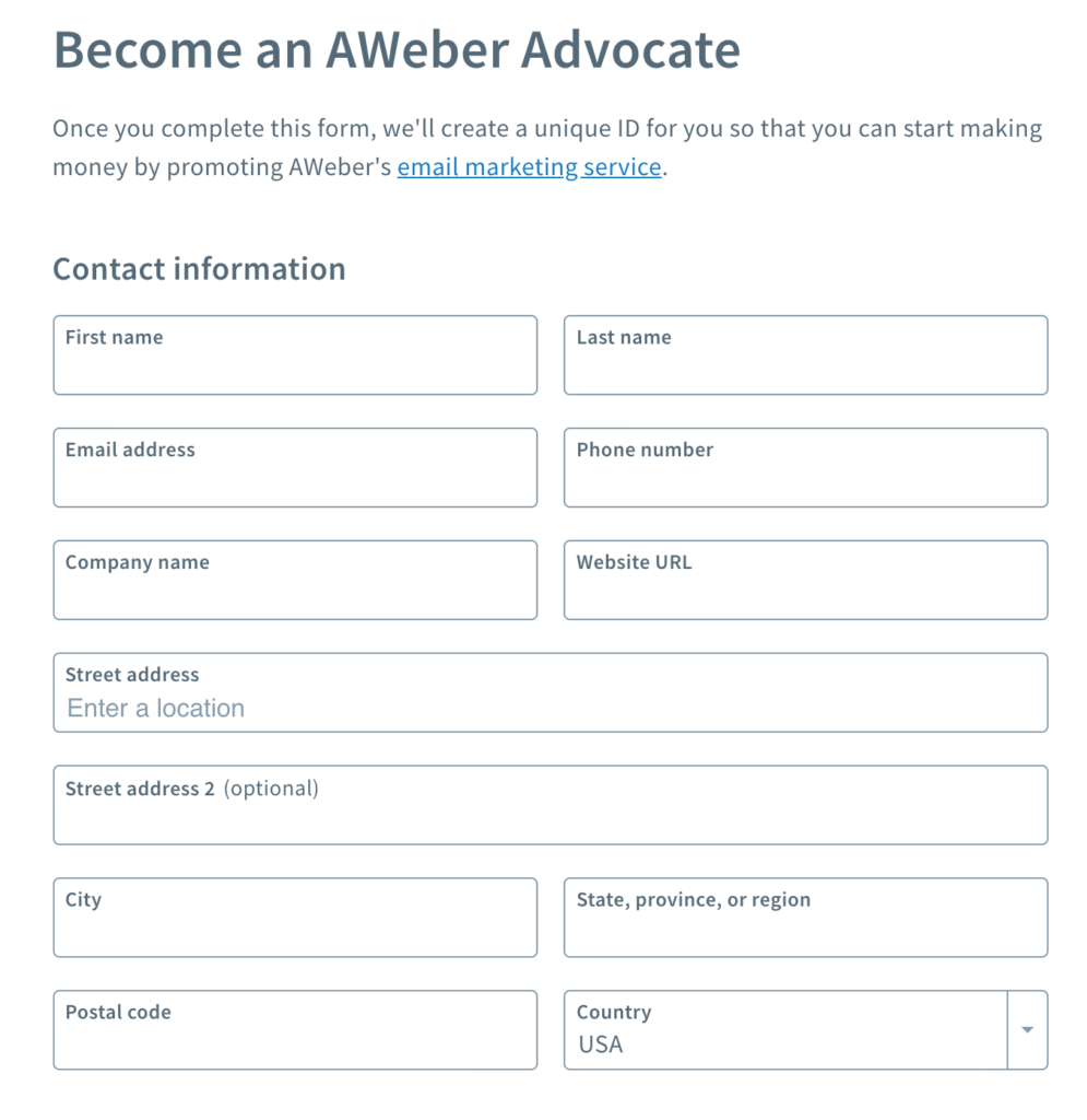 AWeber Affiliate Sign Up Your Personal Details