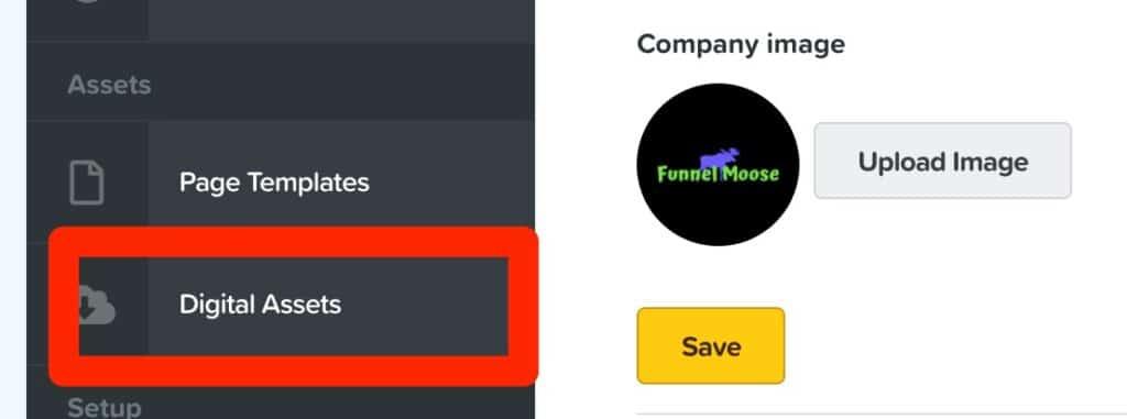 clickfunnels dashboard select digital assests